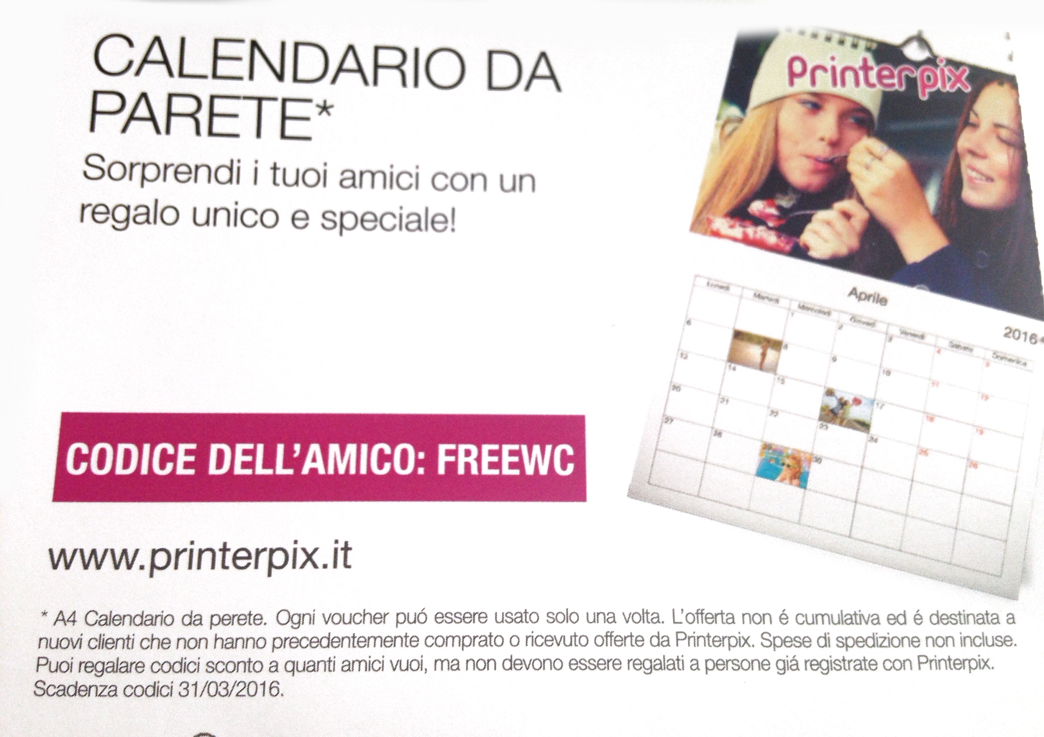 printerpix coupon prodotto gratis omaggio calendario
