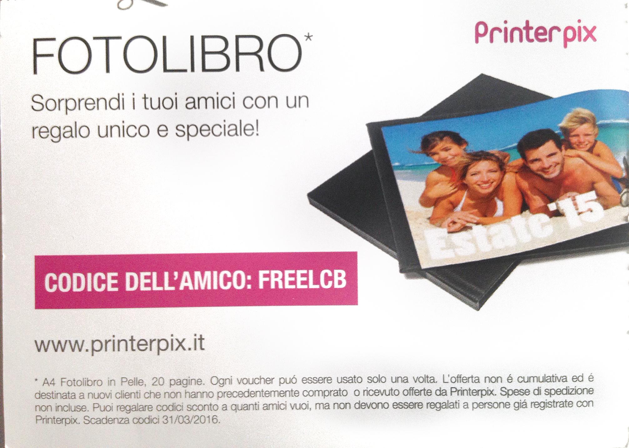 printerpix coupon prodotto gratis omaggio fotolibro