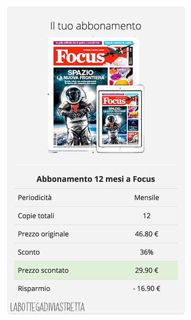 abbonamento focus 12 mesi groupon