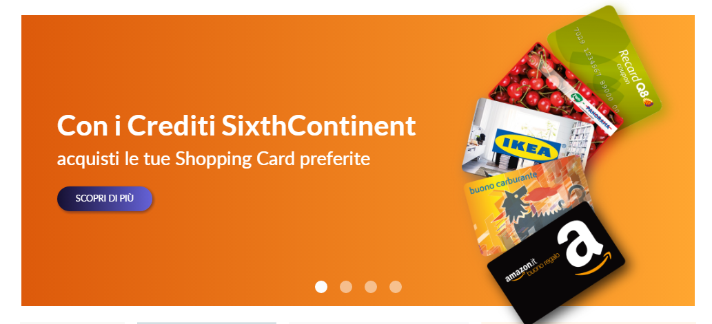 sixthcontinent giftcard sconto